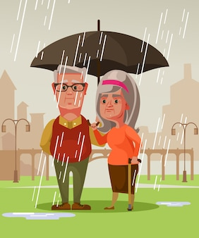 Two person man husband and woman wife old couple standing under rain holding umbrella.