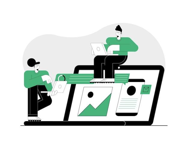 Два человека, использующие персонажей технологии