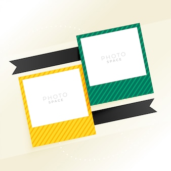 Two photo frame with ribbons background