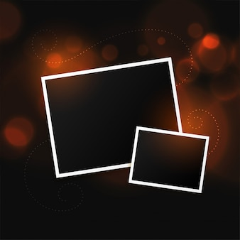 Two photo frames on bokeh background