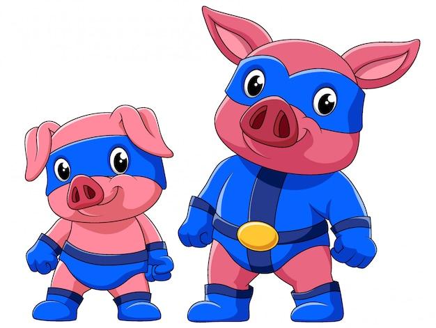 イラストのスーパーヒーローの衣装で2匹の豚