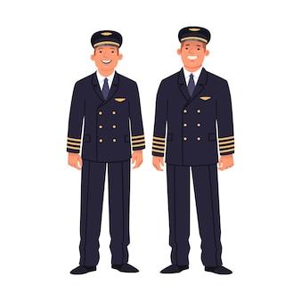 여객기의 두 조종사가 제복을 입고 있습니다. 흰색 바탕에 선장과 부조종사, 항공사 직원. 평면 스타일의 벡터 일러스트 레이 션