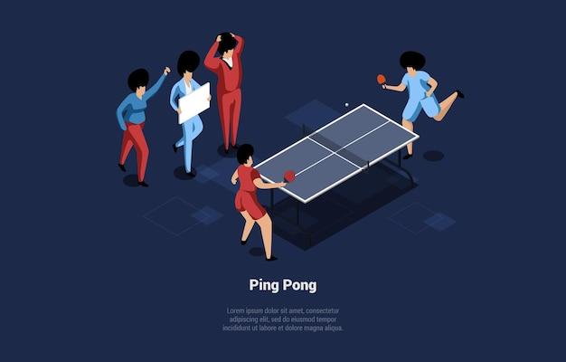 Иллюстрация двух игроков в пинг-понг. люди в форме играют в игру с ракетками, мячом и столом