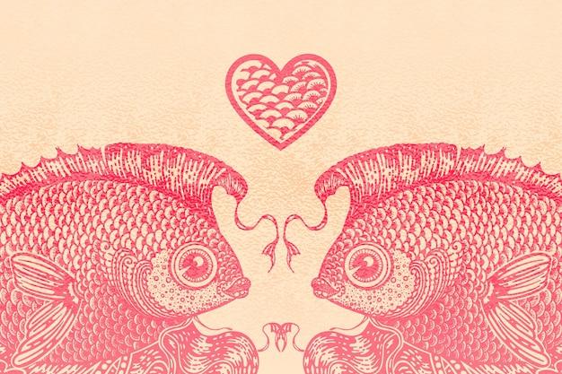 Две розовые золотые рыбки и сердце.