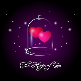 Two pink hearts in glass bubble on violet background