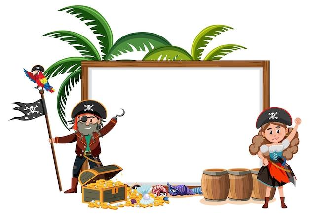 Два пиратских мультипликационных персонажа с изолированным шаблоном пустого баннера