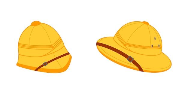 Two pith helmets for tourists hunters and explorers safari sun hats