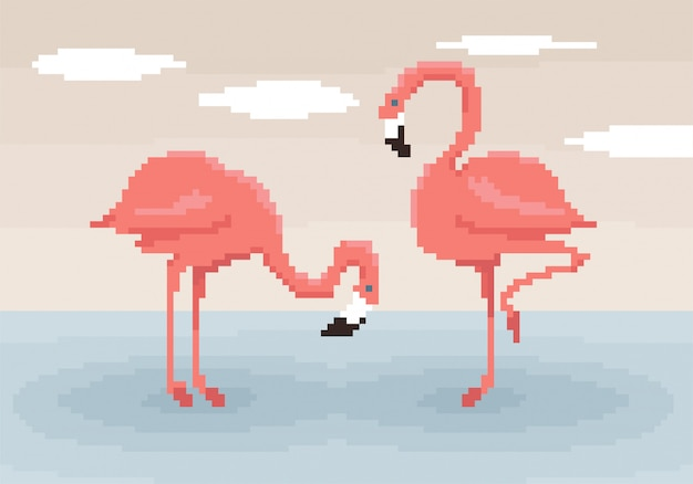 Two pixel art flamingos are standing in the water