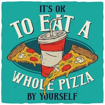 Две пиццы и напитки.