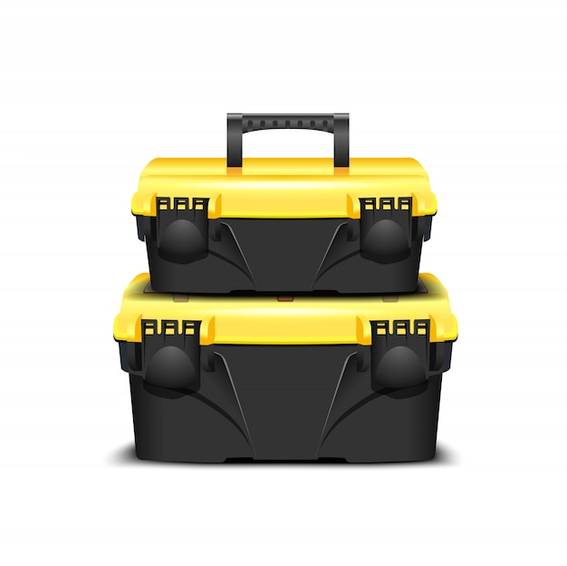 Две пластиковые черный ящик для инструментов, желтая крышка на белом фоне. инструментарий для застройщика или промышленного магазина. реалистичная коробка для инструментов