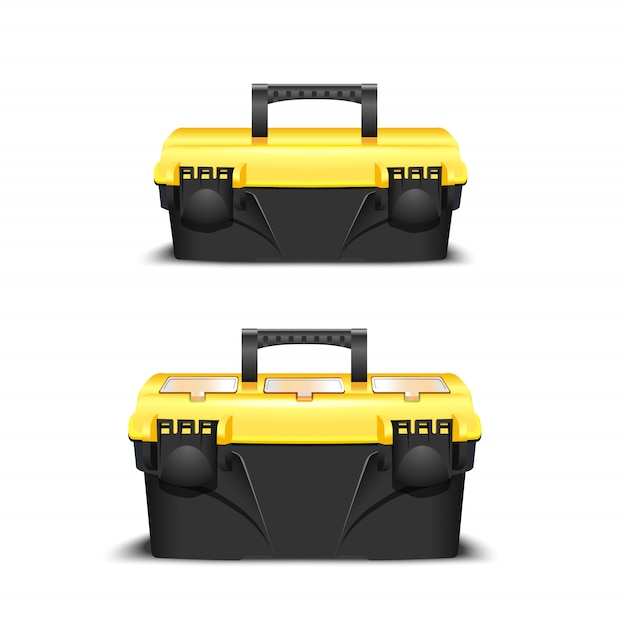 Два пластиковых черных ящика для инструментов, желтая крышка. инструментарий для застройщика или промышленного магазина. реалистичная коробка для инструментов