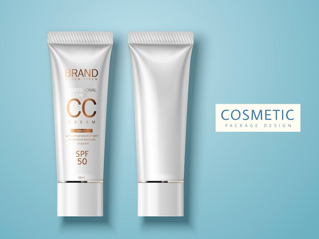 Two plastic tubes, one blank and another one for cosmetic cream package  use, isolated light blue background