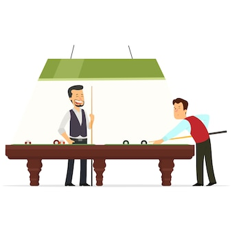 Two players play billiards.