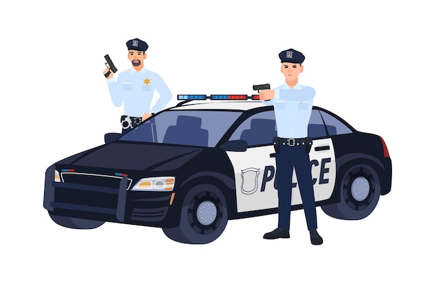 Two policemen or cops in uniform standing near car, holding guns and aiming them at someone