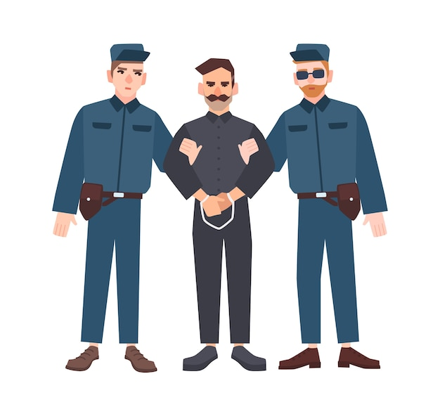 Two policemen in uniform holding male criminal or prisoner in handcuffs