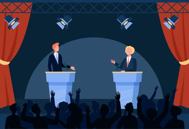 Two politicians taking part in political debates in front of audience isolated flat illustration