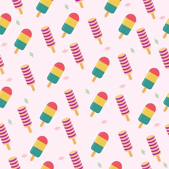 Two popsicle summer seamless pattern