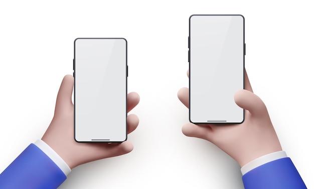Две позиции реалистичных рук бизнесмена, держащих черный смартфон с пустым экраном и современным безрамным дизайном, изолированным на белом фоне. векторная иллюстрация