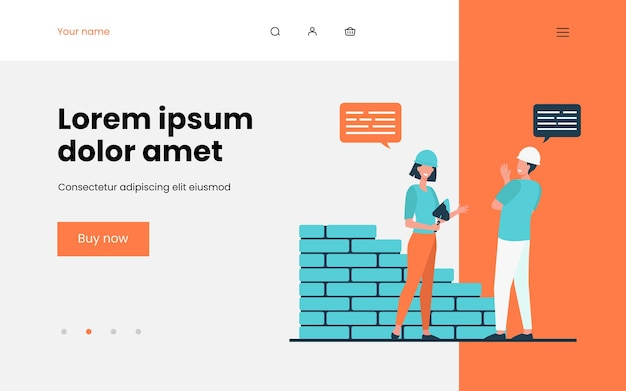 Two positive builders talking and working landing page template
