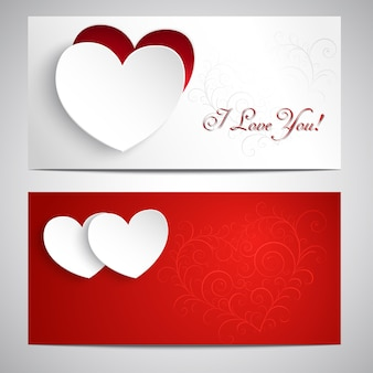 Two postcards with hearts, pattern, and the words i love you.