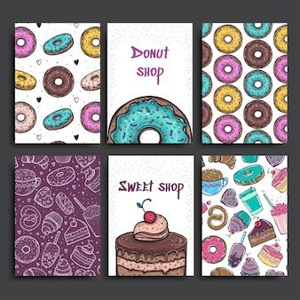 Шаблон двух плакатов с пончиками и пирогом. реклама пекарни или кафе.