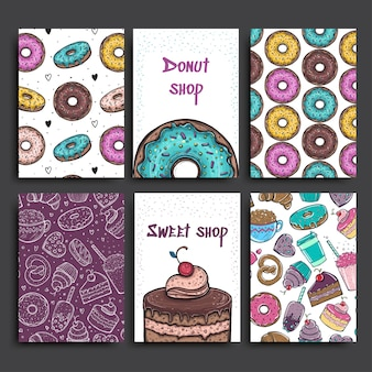 Two posters template with donuts and pie. advertising for bakery shop or cafe.