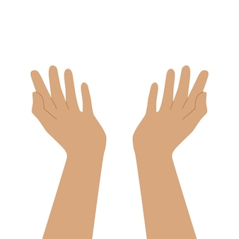 Two praying hands. open your empty palms up. vector flat illustration isolated on white background. for web and posters