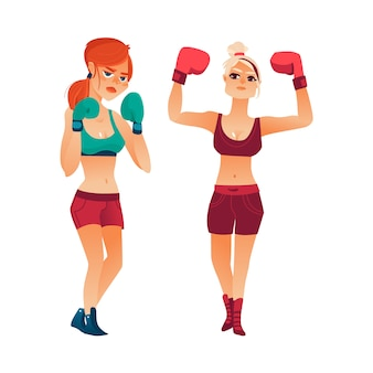Two pretty boxer women, girls in boxing gloves