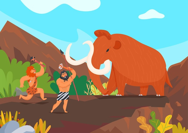 Two primitive men hunting mammoth with stone weapons cartoon illustration