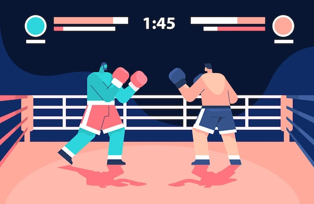 Two professional boxers fighting on arena boxing online platform video game level e-sport concept computer screen horizontal full length vector illustration