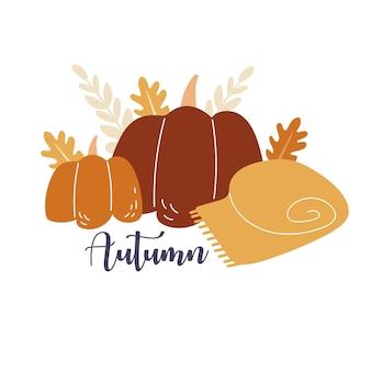 2つのカボチャと秋のデザインのための居心地の良いブランケットテキスト秋のプリント