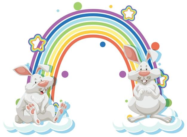 무지개와 함께 두 토끼 만화 캐릭터