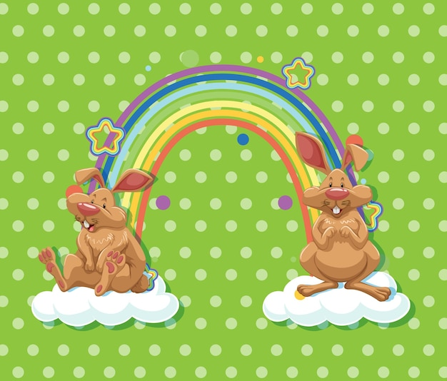 Two rabbits on the cloud with rainbow on green polka dot background