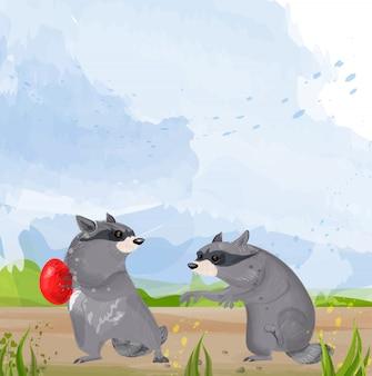 Two raccoons cartoon illustration