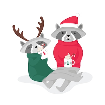 Two raccoons drinking cocoa in festive clothes