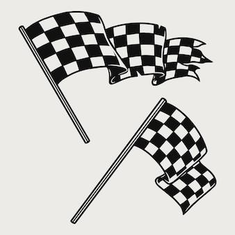 白で隔離される2つのレーシングチェッカーフラッグ