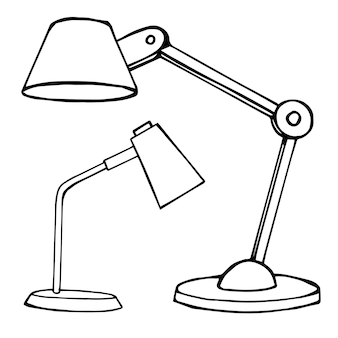 Two reading lamps isolated on white background. vector illustration in a sketch style.