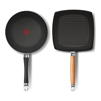Two realistic black frying pans, round and square shape, with red thermo-spot indicator
