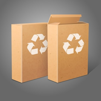 Two realistic blank craft paper packages for cornflakes