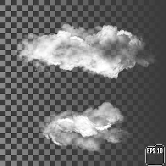 Two realistic clouds on a transparent background
