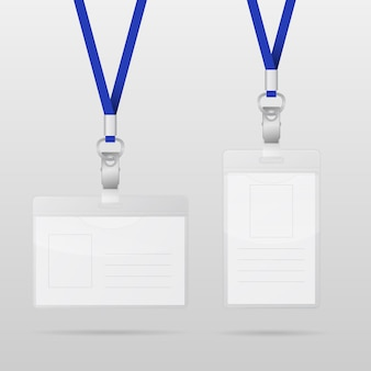 Two realistic horizontal and vertical plastic id cards with blue lanyards