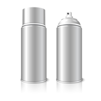Two realistic, isolated on white background with reflection, blank aerosol spray metal 3d bottle cans - opened and with cap. for paint, graffiti, deodorant, foam, cosmetics etc.