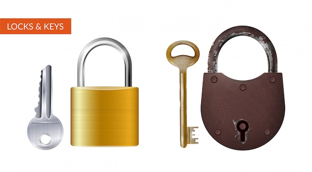 Two realistic kits of padlock with key for safety and security protection isolated