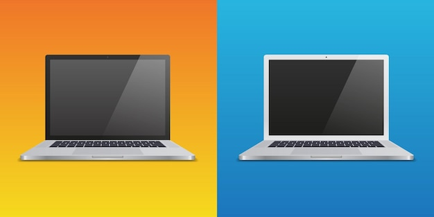 Two realistic laptop on different gradient backgrounds. for use in mockups and presentations. vector illustration.