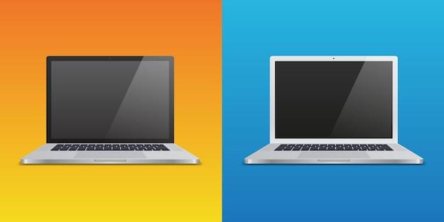 異なるグラデーションの背景に2つの現実的なラップトップ。モックアップやプレゼンテーションで使用します。ベクトルイラスト。