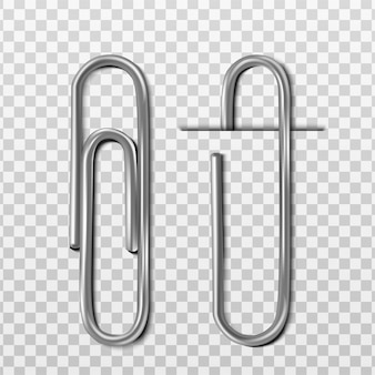 Two realistic metal paper clips with and without paper