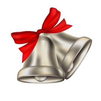 Two realistic silver bells with red ribbon