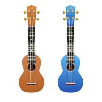 Two realistic ukuleles isolated