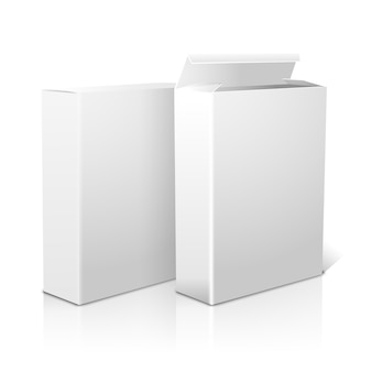 Two realistic white blank paper packages for cornflakes, muesli, cereals etc. isolated on white background with reflection, for design and branding.