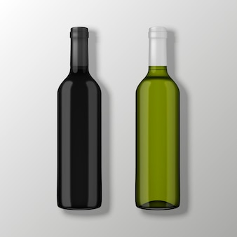 Two realistic wine bottles in top view without labels on gray background.